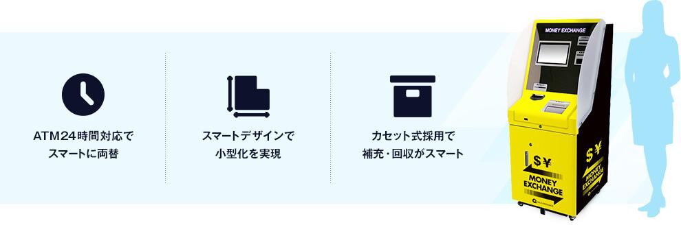 ATM24時間対応でスマートに両替 スマートデザインで小型化を実現 カセット式採用で補充・回収がスマート